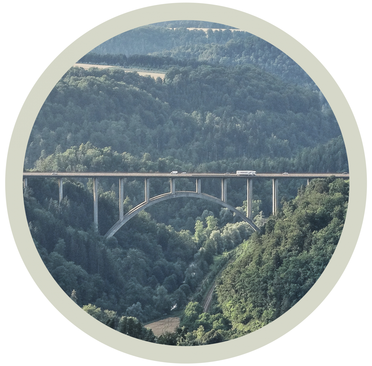 Geschichte der Neckarline - Hängebrücke Rottweil